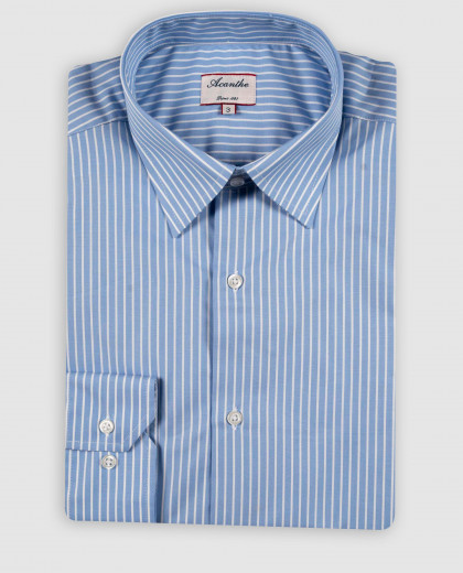 Chemise col italien rayures blanches sur fond bleu