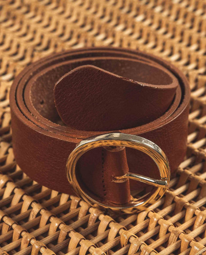 Ceinturon boucle ronde cuir cognac